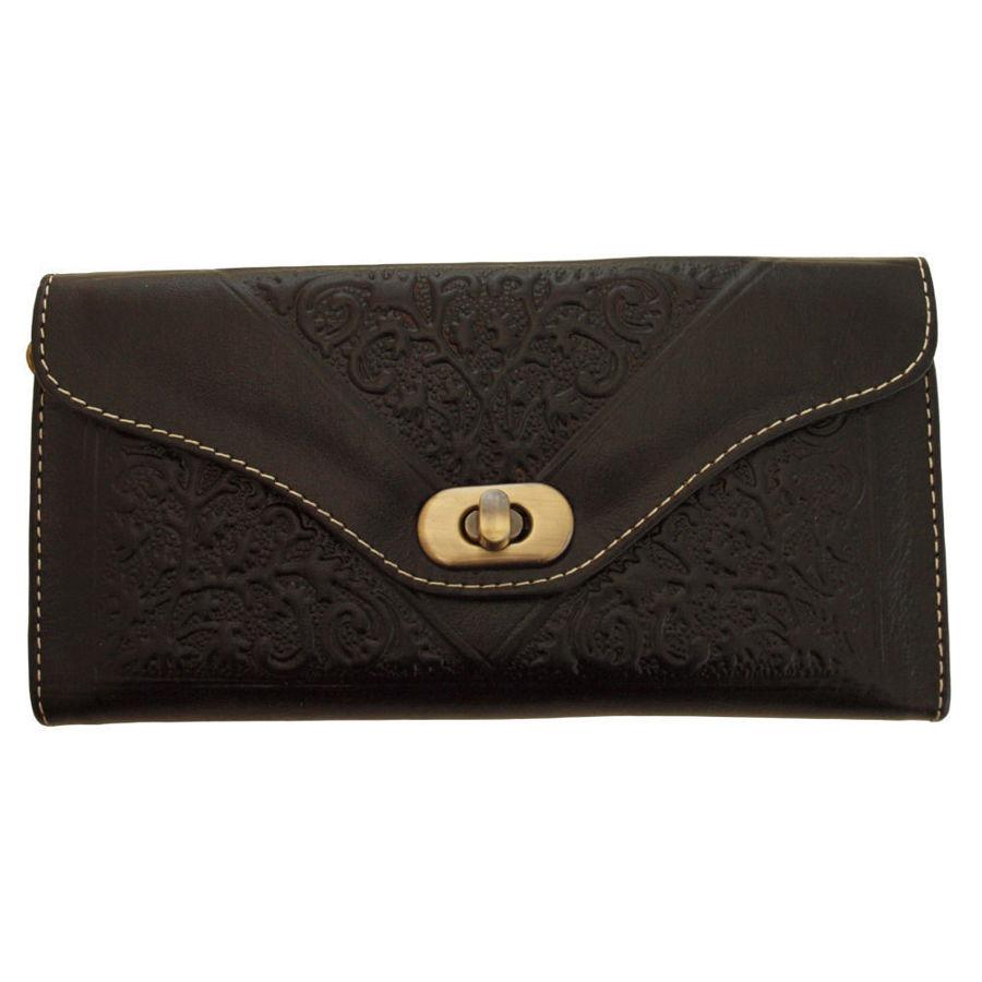 صورة محفظة جلدية سوداء بثلاث طيات