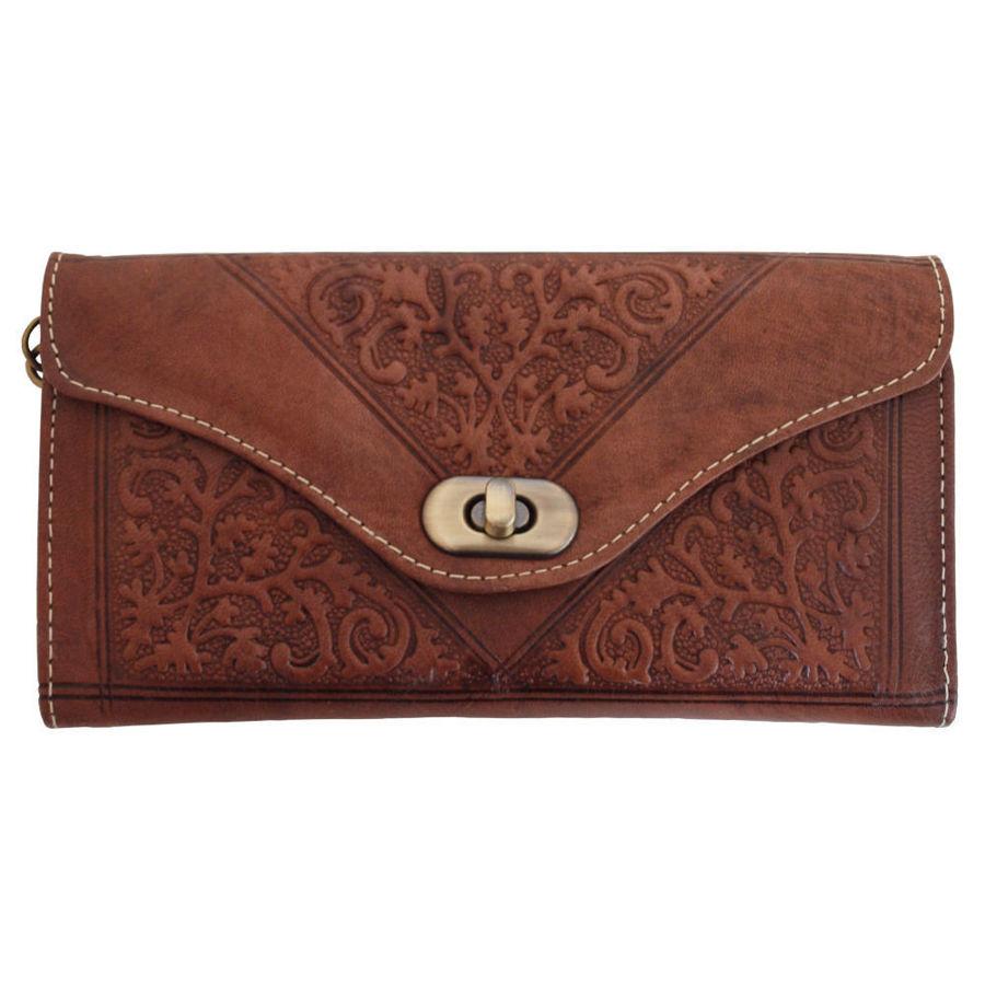 Bild von Dreifache Portemonnaie aus dunkelbraunem Leder