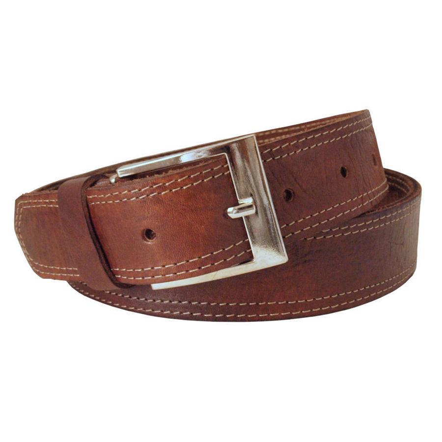 Imagen de Cinturón ancho de piel marrón