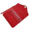 صورة محفظة جلدية حمراء بثلاث طيات