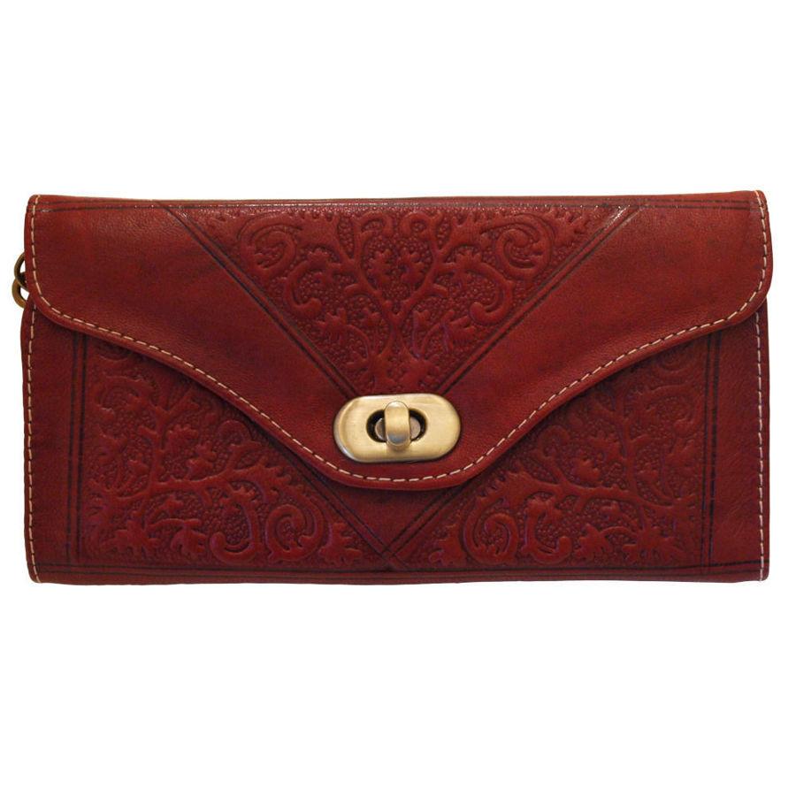 Bild von Dreifache Portemonnaie aus kirschem Leder