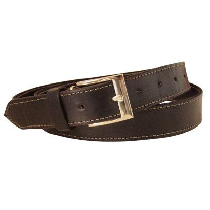 صورة حزام جلد أسود مع خياطة سوداء ضيقة