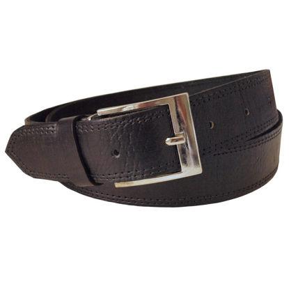 صورة حزام من الجلد الأسود بخياطة عريضة باللون الأسود