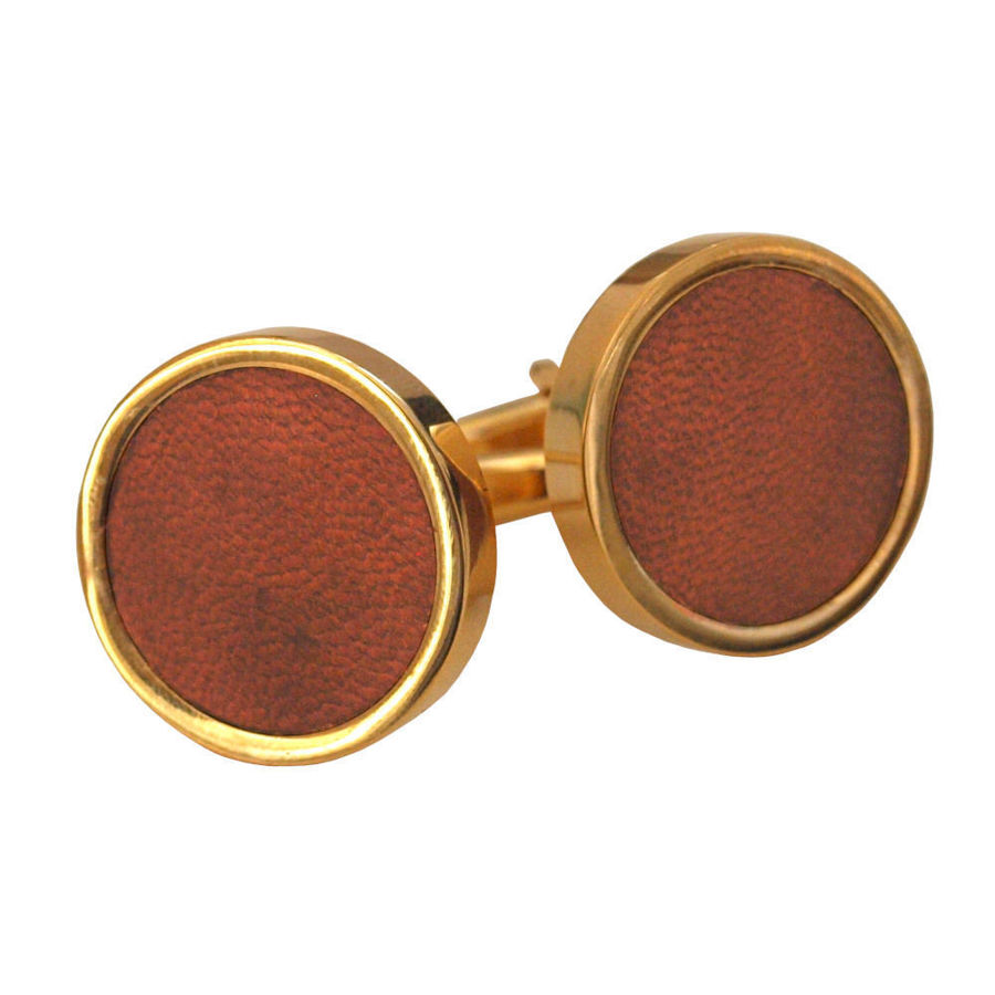 Picture of Gold Leather Cufflinks