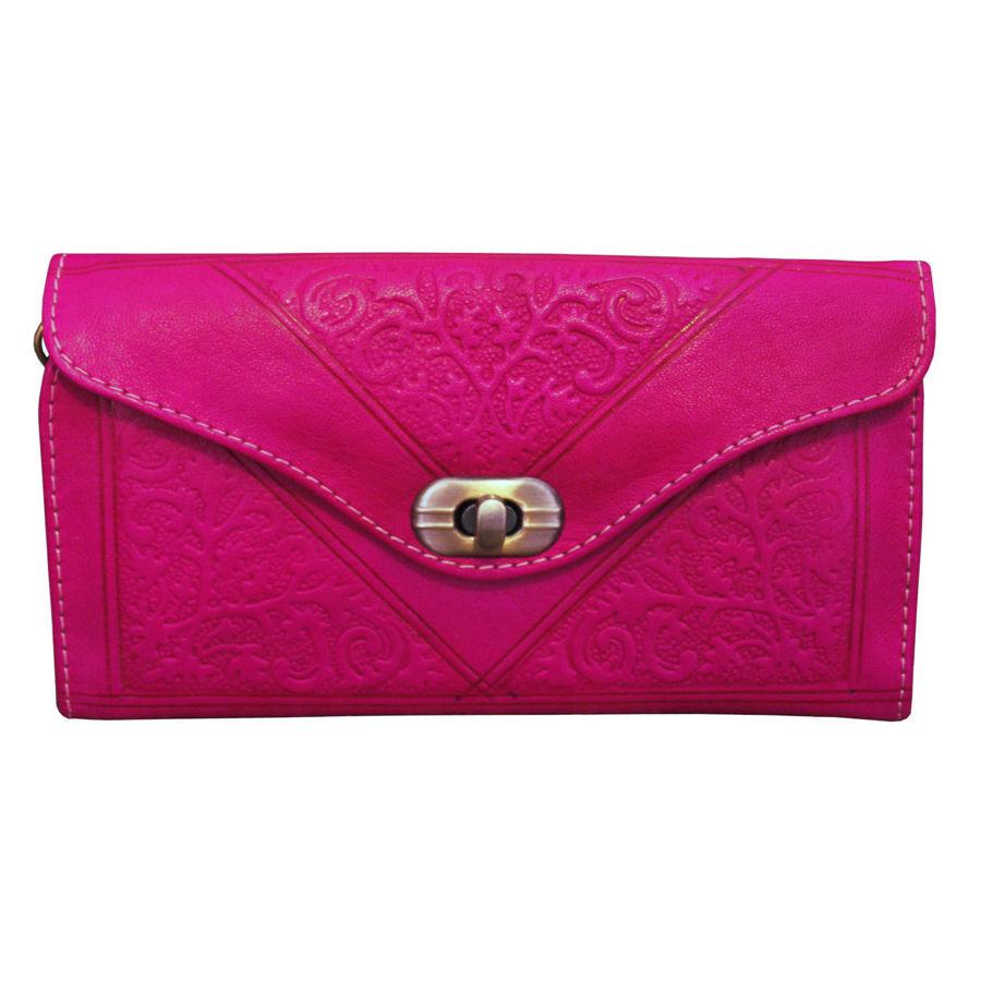 Image de Porte-monnaie en cuir rose à trois volets