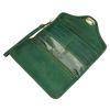 صورة محفظة جلدية خضراء بثلاث طيات