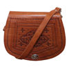 Picture of The Temara Embossed Saddle Bag in Tan