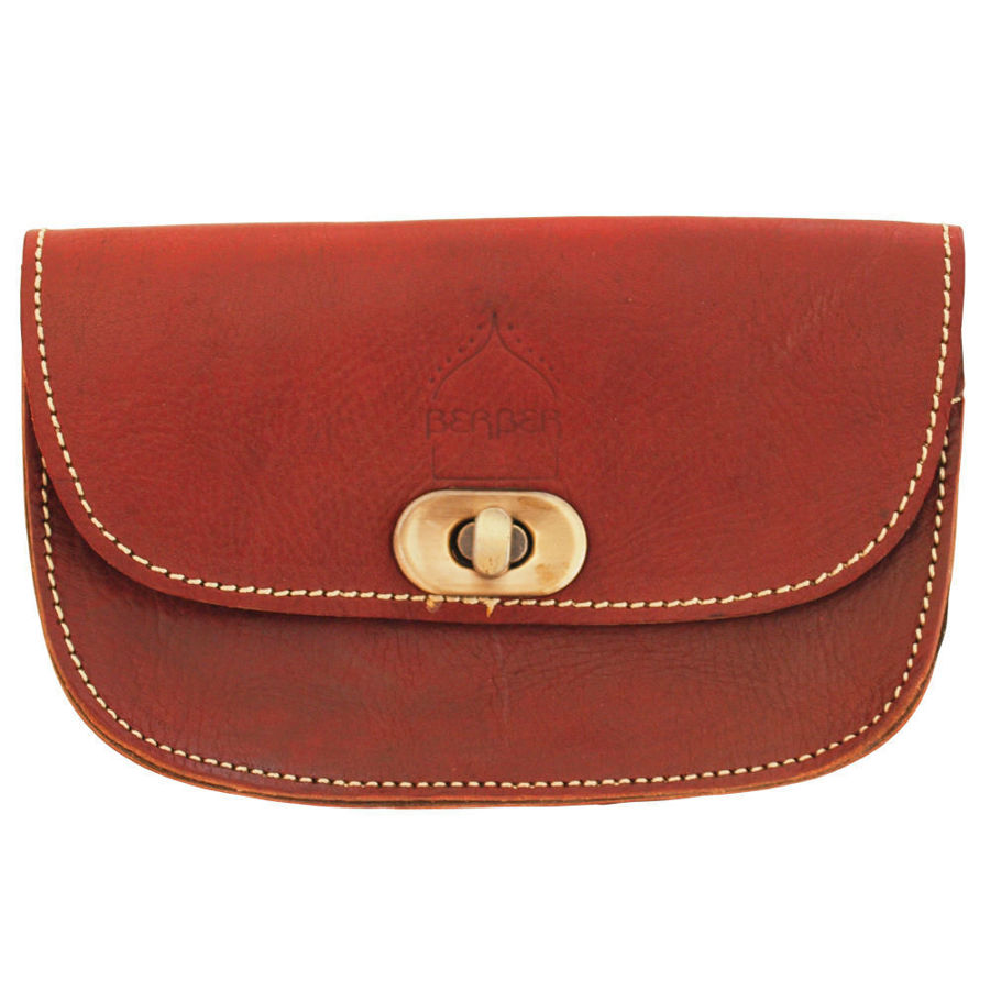 صورة حقيبة حزام مصنوعة من الجلد بلون الكرز